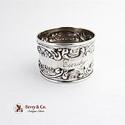 Rose and Scroll Napkin Ring Sterling Silver Gorham Silversmiths