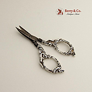 Ornate Scissors Figural Cherub Handles Sterling Silver 1900