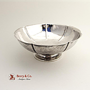 Arts and Crafts Footed Bowl Hand Made Hammered Sterling Silver Joel Hewes 1960