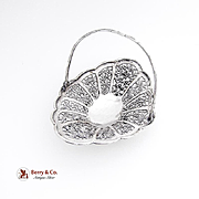 Ornate Chinese Export Silver Swing Handle Basket Open Work Floral Decorations Wang Hing 1900