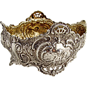 Ornate Baroque Serving Bowl Cherub Rose Scroll Shell Decorations 800 Silver 1900