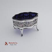 Empire Style Master Salt Dish Silverplate Cobalt Blue Liner 1890