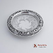 Ornate Repousse Candy Bowl Etched Glass Kirk and Son 1920