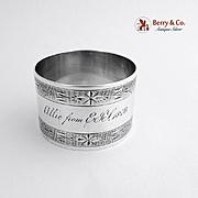 Coin Silver Napkin Ring Engraved Designs 1870