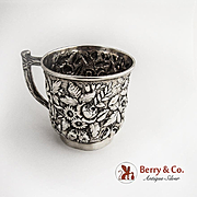 Ornate Floral Repousse Cup Sterling Silver welsh and Bro 1880