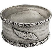 SOLD Engine Turned Napkin Ring Coin Silver Monogram W 1857