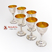 Wine Goblets 6 Gale and Willis Sterling Silver 1859