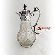 Aesthetic Decanter Carafe Silverplate Etched Glass 1880
