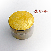 Yellow Guilloche Enamel Round Box Sterling Silver 1910