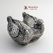 SOLD Vintage Figural Love Bird Box Sterling Silver