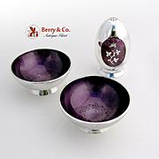 Vintage Pair of Salt Dishes and Shaker Plum Violet Guilloche Enamel Sterling Silver Meka Denma