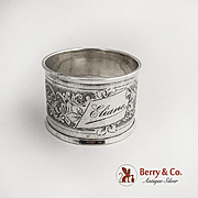 Engine Turned Napkin Ring Sterling Silver 1890 Monogram Eliane