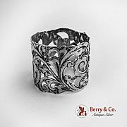 Ornate Open Work Napkin Ring Sterling Silver 1900