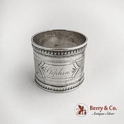 Engine Turned Napkin Ring Sterling Silver 1890 Monogram Stephen