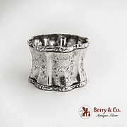 French Napkin Ring Rounded Pinched Waist Octagon Sterling Silver