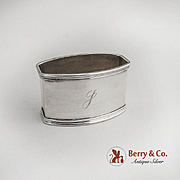 Rectangular Napkin Ring 800 Silver Italy Monogram J