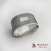 Engine Turned Oval Napkin Ring Sterling Silver 1960