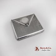 Envelope Form Cigarette Case Engine Turned Barton Sterling Silver 1900