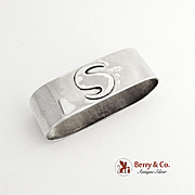 Hand Made Oval Napkin Ring Sterling Silver Monogram S
