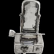 Vintage Figural Salt and Pepper Shaker Dresser with Mirror Japanese Sterling Silver 1930