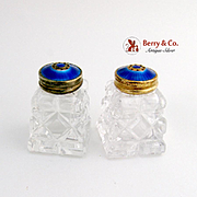 Vintage Guilloche Enamel Salt and Pepper Shakers Sterling Silver Norway 1930