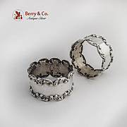Scroll Napkin Rings Pair Sterling Silver Mexico