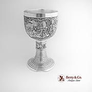 Vintage Ornate Goblet Wine Cellar Scenes Silverplate