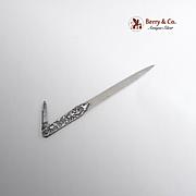 Vintage Ornate Letter Opener Folding Knife Sterling Silver Carbon Steel Cherub Decorations 192