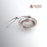 SALE PENDING Dutch Beaded Tea Strainer Basket 833 Silver 1900