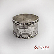 Vintage Engine Turned Applied Rosette Rims Napkin Ring Coin Silver