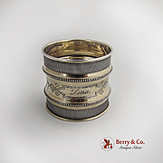 Vintage Engraved Beaded Milled Borders Napkin Ring Coin Silver Gilt 1875