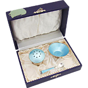 Danish Guilloche Enamel Open Salt Dish Spoon Pepper Shaker Set Ela Sterling Silver 1940
