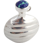 Modernist Round Perfume Flask Blue Green Cabochon Decoration Sterling Silver