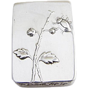 Vintage Repousse Floral Pill Box Sterling Silver Portugal