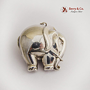Vintage Sterling Silver Elephant Christmas Ornament Pendant