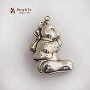 Teddy Bear Christmas Ornament Pendant Sterling Silver 1980