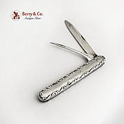 Vintage Folding Pocket Double Knife La Pierre Sterling Silver 1900