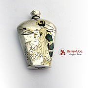 SALE PENDING Japanese Engraved Perfume Bottle 950 Sterling Silver 1940