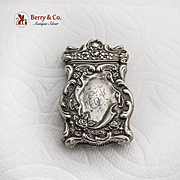 Baroque Floral Scroll Match Safe Sterling Silver 1900
