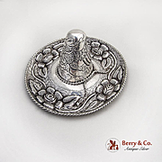 Large Repousse Hat Sombrero Figural Ornament Sterling Silver