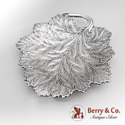 Large Leaf Dish Ball Feet Reed And Barton Sterling Silver Datemark 1941