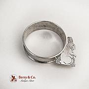 Vintage Bunny Rabbit Napkin Ring Webster Sterling Silver 1940