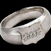 Union Shield Small Napkin Ring Coin Silver 1865