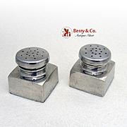 George Washington Salt Pepper Shakers Baldwin Miller Sterling Silver 1940