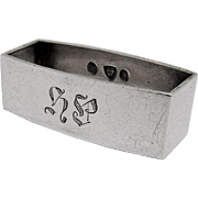 Small Rectangular Napkin Ring Monogrammed Danish 830 Silver 1932