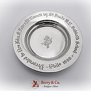 Engraved Cross And Crown Paten Small Plate Sterling Silver