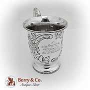 Vintage Repousse Floral Scroll Cup Mug Coin Silver 1860
