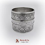 Vintage Massive Ornate Napkin Ring Coin Silver 1880