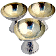 Danish Hand Made Open Salt Dishes Gilt Bowls Footed Sterling Silver