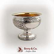 Engine Turned Engraved Open Salt Dish Gilt Interior Coin Silver